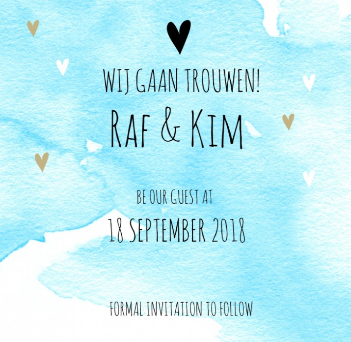 Save the date Raf en Kim voor